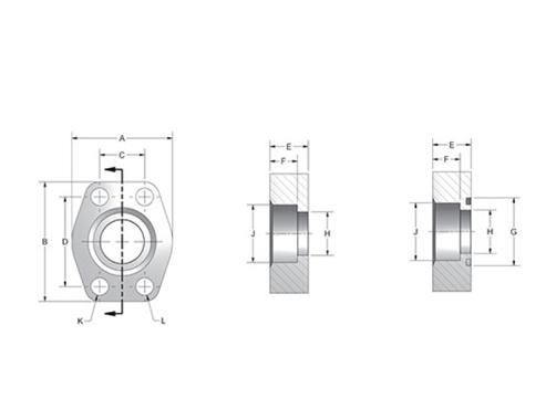 Item # W61-32-32, CD61/CD62 Flat Socket Weld Pipe 4-Bolt Flanges On