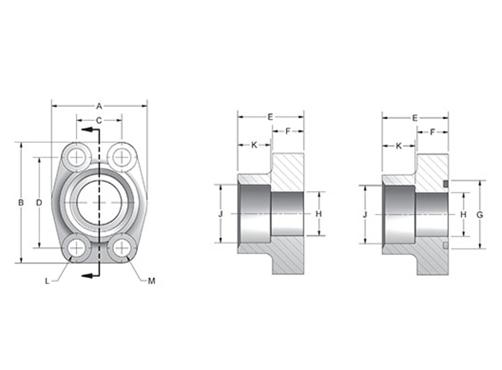 Item # W31-12-12-S/S, CD61/CD62 Deep Socket Weld Pipe 4-Bolt